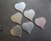 "6 Aluminum Hearts with Ring, 7/8"" Heart Blanks for Stamping, 20 gauge aluminum, Ready to Ship!"