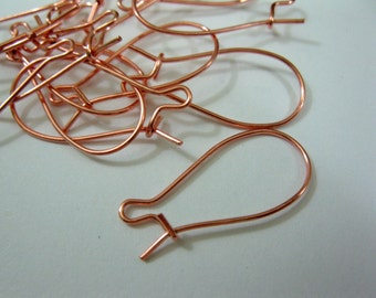 1 Inch COPPER Kidney EARWIRES, 10 Pairs
