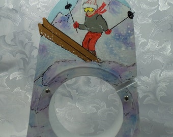 Snow Skier on Mountain Run Wooden Bank - Personalized Free
