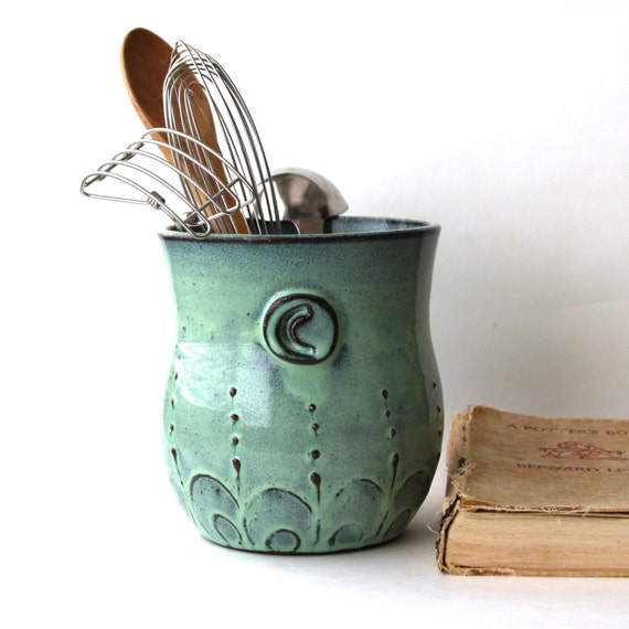 Monogram kitchen utensil holder aqua mist large size for Kitchen utensil holder