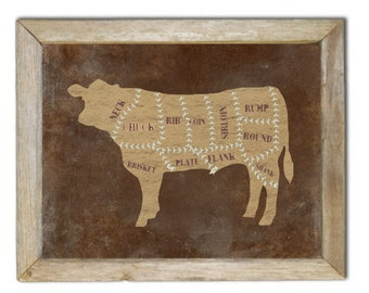 Beef Butchers Chart Art Print, Chefs Wall Decor, Rustic, Distressed Cow, Steer, Cattle, Western