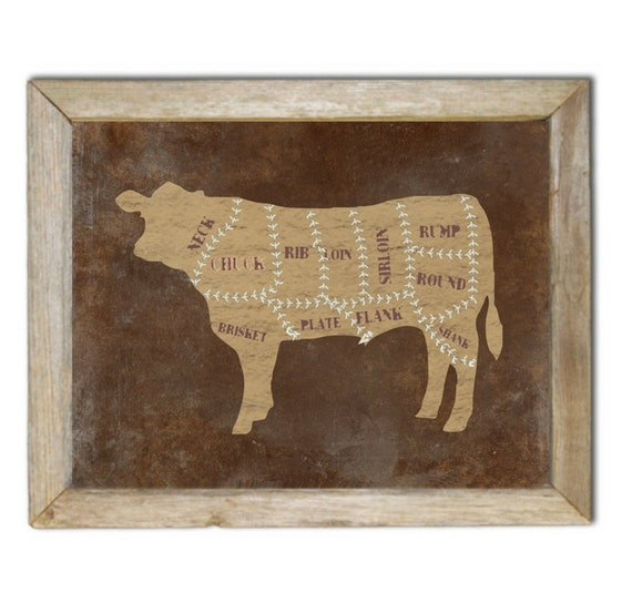 Beef Chart Art Print, Chefs Wall Decor, Rustic, Distressed Cow, Steer, Cattle, Western