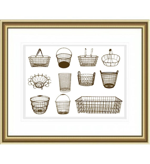 Wire Kitchen Wall Decor : Assortment of vintage wire baskets art print wall decor egg