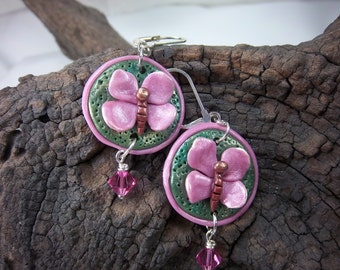 Pink Butterfly Earrings, Polymer Clay, Butterfly Dangles, Swarovski Crystals, Green and Pink