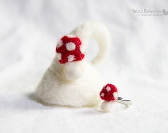 Needle Felted Ring: Toadstool - Adult or Child Adjustable sizes