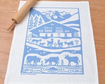 Alps  Linen Cotton Tea Towel: Steel Blue or Red (Sorry green sold out!)