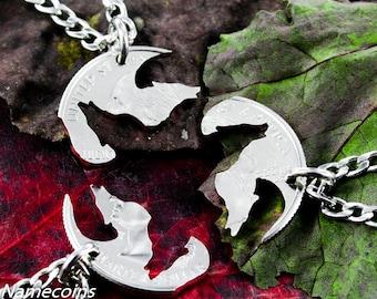 3 Best Friend Wolf Necklaces, Three piece Interlocking friendship jewelry, hand cut coin