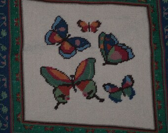 Butterfly Needlepoint Finished Tapestry Picture White Pink Blue Green Butterflies Flower For Chair or Picture