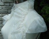 Super Sample Sale Ivory Dupioni cap sleeves bolero with ruffle details