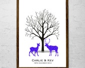 """A3 16.5 x 11.5"""" Stag and Doe Fingerprint Tree Guest Book - up to 150 guests"""