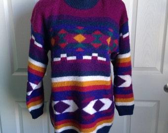 Vintage Ninon de lenclos sweater Aztec tribal large oversized blue purple