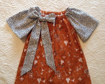 Adorable Girls Longhorn Dress...Burnt Orange & Black...Peasant Style...Big Bow...Hook 'Em Horns