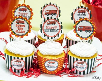 Fire Truck Birthday Party Cupcake Kit- 2 Inch Party Circles and Cupcake Wrappers, Instant Download, Printable