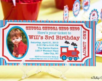 Vintage Train Ticket Photo Invitation... Custom, Printable, Digital