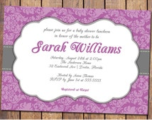 Baby girl Baby Shower Invitations with purple damask, modern baby shower invite, shabby, elegant invitation, digital, printable (item328a)