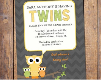 Twins baby shower invitations, owl baby shower invite, gender neutral, baby shower invitations, digital, printable file (item46)
