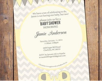 Twins Baby shower Invitation chevron, gender neutral twins, boy girl twins, elephant baby shower, digital, printable file (item296)