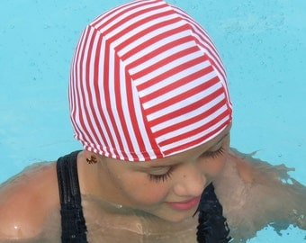Lycra SWiM CaP - Red AND White STRIPES - Sizes - Baby , Child , Adult , XL - Made from Spandex / Swimsuit Swimming Fabric - by Froggie's