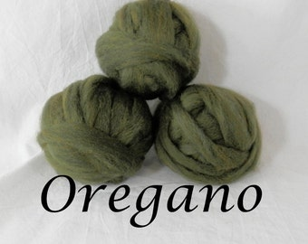 Wool roving in Oregano, 1 ounce wool roving for needle felting, wet felting, spinning, 1 oz New Zealand wool roving, dyed wool