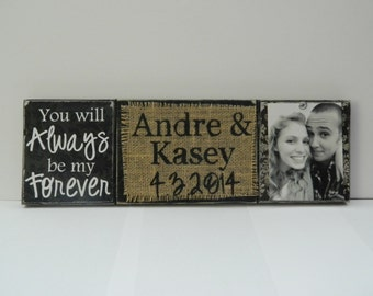 Wedding gift/decoration personalized photo name date, burlap black and white shabby chic rustic summer wedding bride gift shower anniversary
