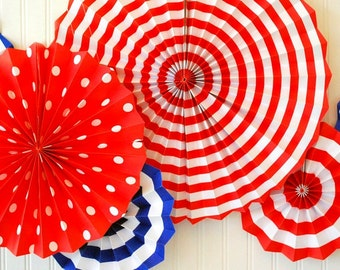 Fourth of July Hanging Paper Fans Rosettes and Hanging Pinwheels in Red White and Blue for perfect for 4th of July or Independence Day