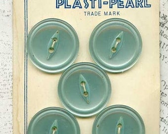 5 Vintage Pale Blue Plastic Sewing Buttons 7/8 inch 22mm Costumakers Plasti-Pearl Card Japan