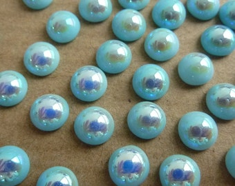 10 glass cabochons, Ø6mm, light blue, AB coating, round
