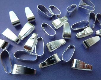30 clip bails, 11x4mm, silver
