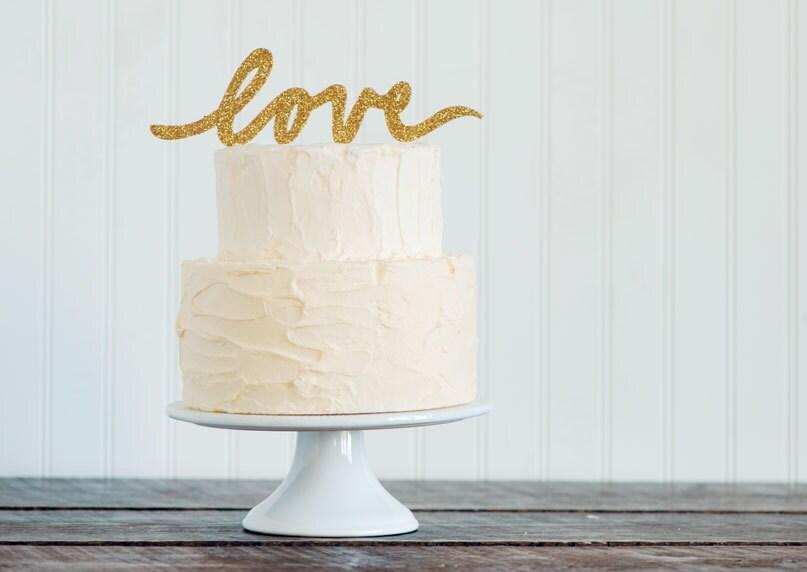 GOLD Or SILVER Glitter LOVE Script Wedding Cake Topper Etsy Finds