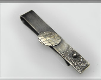 Textured Sterling Silver Tie Pin , gift for men, tie bar clip, money clip, designer, artistic