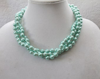 Turquoise Twisted Pearl Necklace