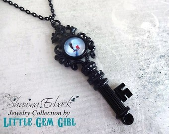 Girl and Heart Pet Skeleton Key Necklace - Artwork by Shawna Erback - Comfortable Silence - Gothic Victorian Key Charm Fairy Tale Fantasy