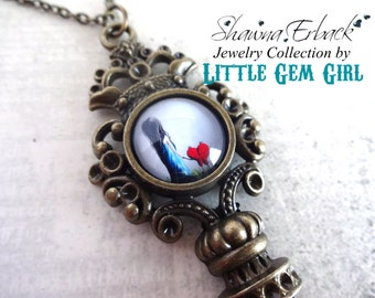 Girl and Heart Pet Skeleton Key Necklace - Artwork by Shawna Erback  - Gothic Victorian Key Charm Fairy Tale Fantasy Best Friend Going Away