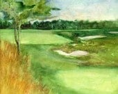 Custom Golf Landscape Course Watercolor Painting Original Composition inspired by Your Supplied Digital Photos by Erica Dale Strzepek