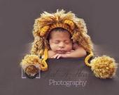 Baby Lion Hat - Newborn Photo Prop, Crochet Lion Hat, Baby Boy Photo Prop Lion