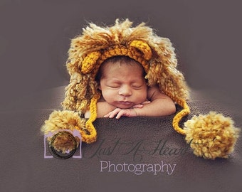 Baby Lion Hat - Newborn Photo Prop, Crochet Lion Hat, Baby Boy Photo Prop Lion