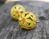 Retro Earrings Yellow Flowers, Vintage Jewelry, Clip