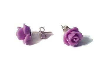 Orchid Purple Rose Stud earrings stainless steel resin 10mm