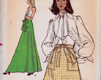 Vogue 8518 Misses' Skirt Pattern, UNCUT, Size 26.5, 1970's, Retro, Flashback, Wrap Skirt, Maxi-Skirt, Back Wrapped, Vintage