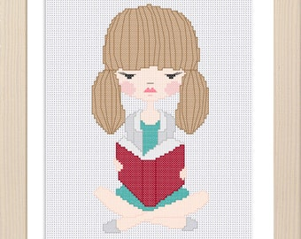 Girl Reading Cross Stitch Pattern / Digital file / Instant download