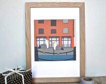 Liverpool Albert Docks Print - Albert Docks drawing - Romantic Liverpool Gift - Valentine's gift