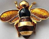 Vintage Gold-tone Enamelled Bee Brooch