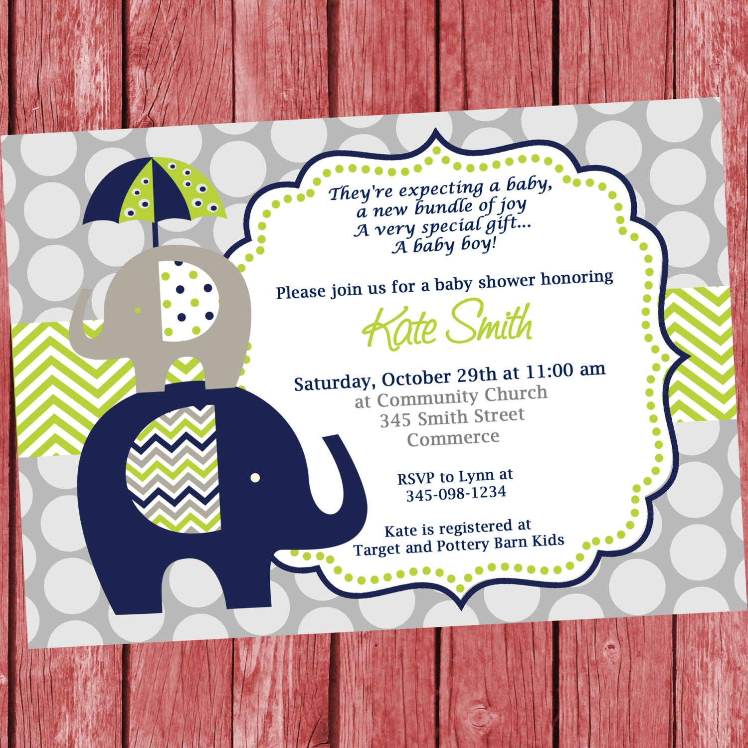 blue and green elephant baby shower invitation printable