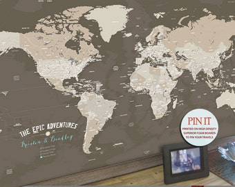 Push Pin World Map, 30X45 Inches, Sepia, Vacation Art, Keepsake gift, Push Pin Travel, Gift for Dads, Gift for Grandfather
