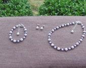 Flower Girl Jewelry White Swarovski Pearls and Purple Velvet Crystals Bridal Jewelry Set