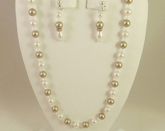 Bridesmaid Jewelry Set Platinum and White Swarovski Pearls and Crystals Bridal Jewelry Set