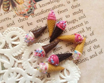 8 pcs clay  ice cream cone mix color miniature