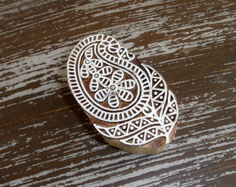 Hand Carved Paisley Flower Stamp, Handmade Indian Printing Block, Wood Block Stamp, Wooden Textile Clay Pottery Ceramic Henna Stamp, India