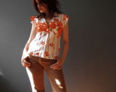 Handmade Spring Fashion Orange Poppy Butterfly Sleeve Cotton Shirt Blouse Australian Fashion