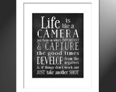 Camera  Quote Art Print, Life is like a Camera, Develop from the Negatives, Wall Art Print, Typography